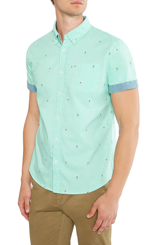 Hula Print Short Sleeve Oxford Shirt