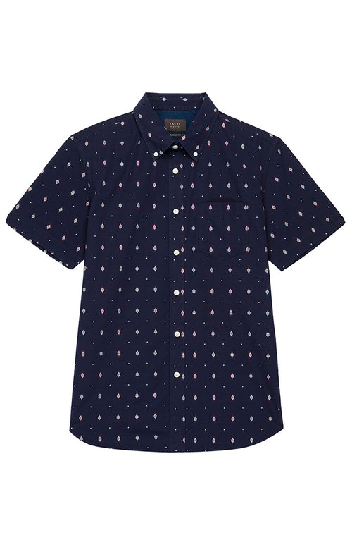 Indigo Embroidered Short Sleeve Shirt