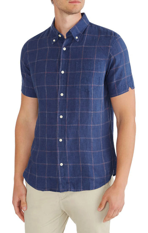 Blue Windowpane Short Sleeve Linen Shirt