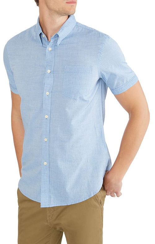 Blue Dobby Striped Short Sleeve Shirt