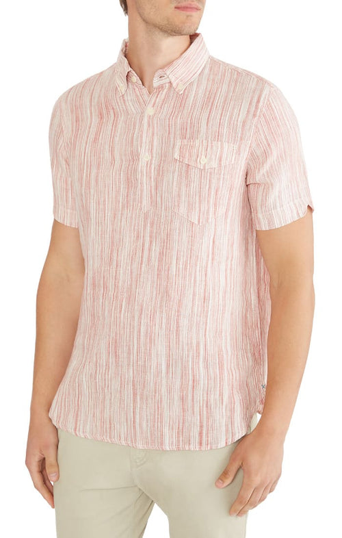 Striped Linen Short Sleeve Popover Shirt