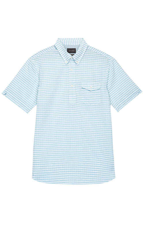 Teal Seersucker Short Sleeve Popover Shirt