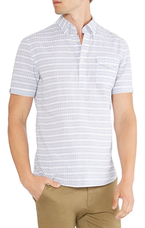 Grey Seersucker Short Sleeve Popover Shirt