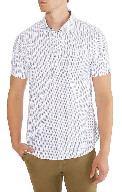 White Printed Short Sleeve Popover Shirt