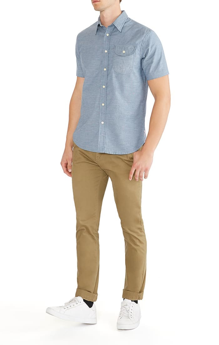 Blue Stretch Short Sleeve Oxford Shirt