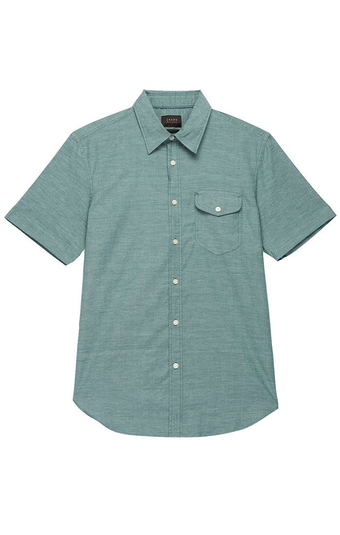 Green Stretch Short Sleeve Oxford Shirt