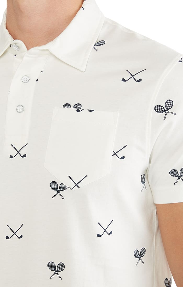 White Printed Polo