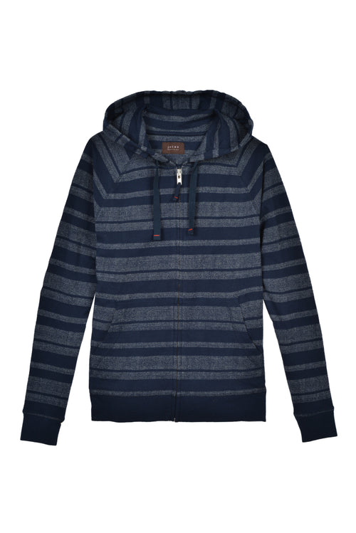Navy Herringbone Striped Zip Up Hoodie
