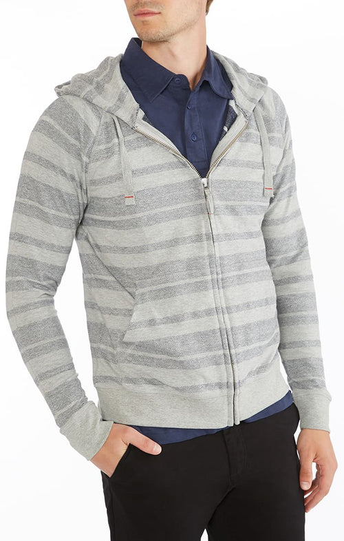 Grey Herringbone Striped Zip Up Hoodie
