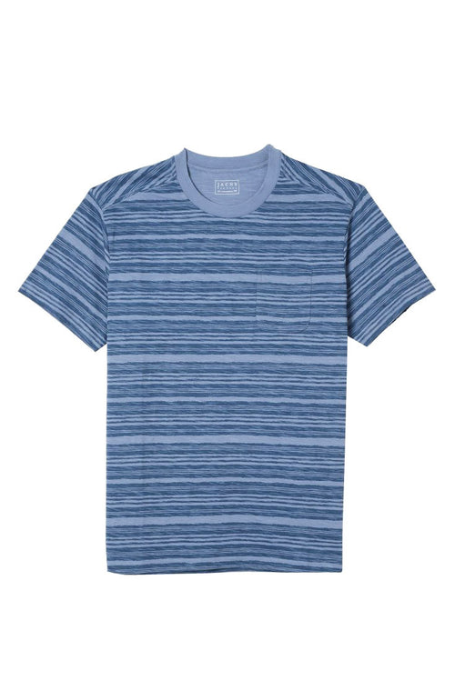Blue Striped Slub Pocket Tee