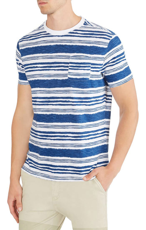 White Striped Slub Pocket Tee