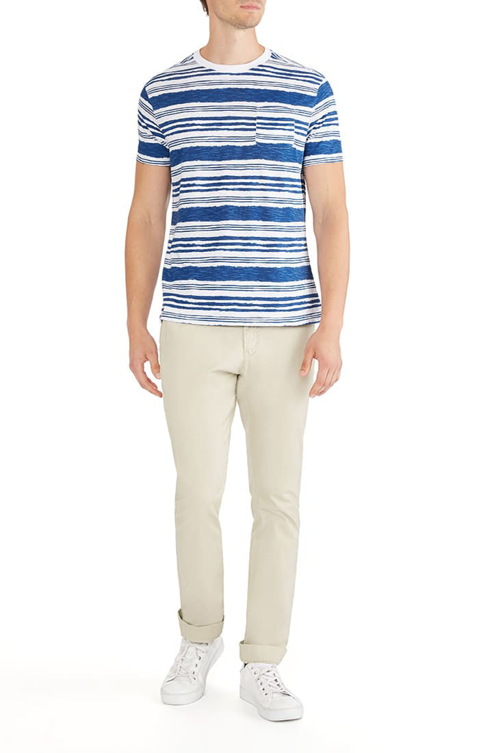 White Striped Slub Pocket Tee - jachs