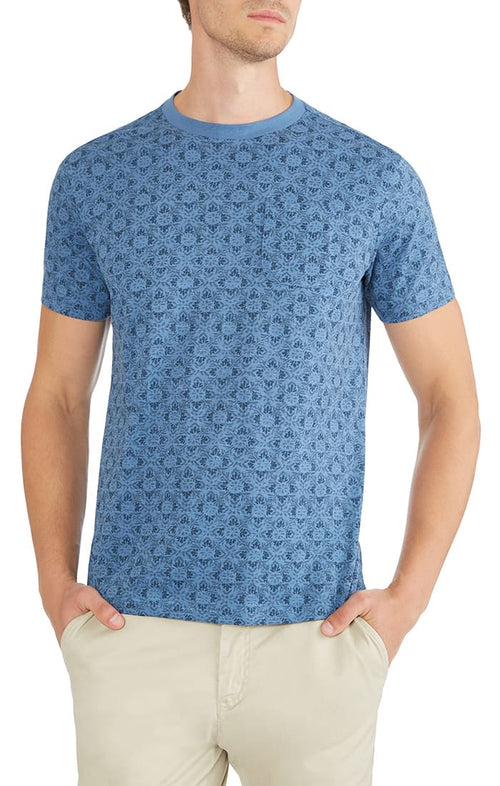 Lotus Print Slub Pocket Tee