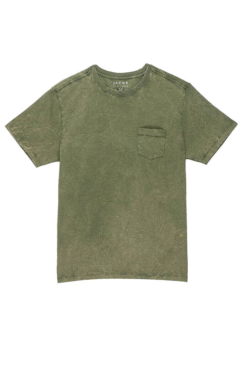 Olive Crinkle Wash Pocket Tee