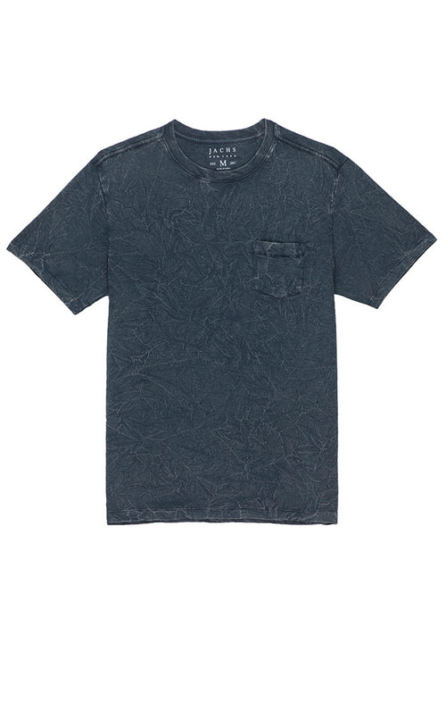 Navy Crinkle Wash Pocket Tee