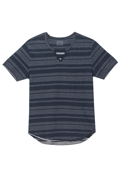 Navy Herringbone Striped Split V Tee
