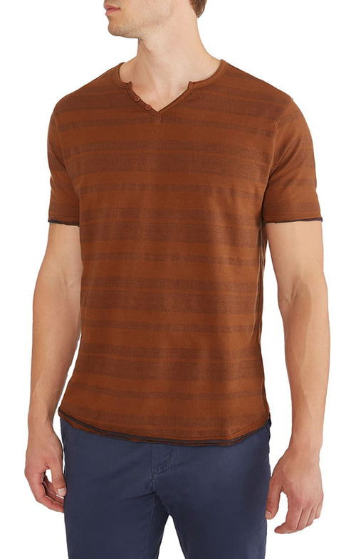 Rust Herringbone Striped Split V Tee