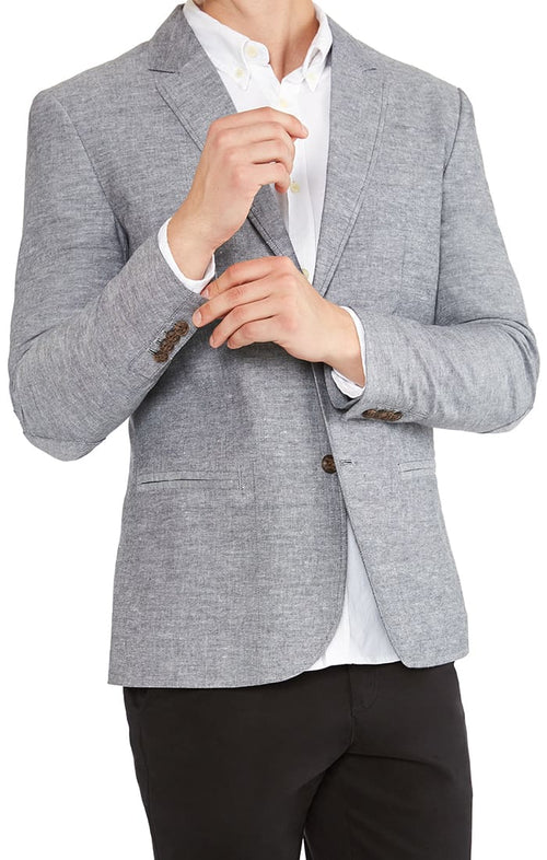 Grey Slub Chambray Blazer