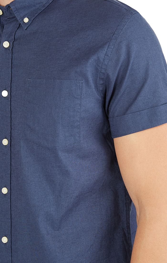 Navy Short Sleeve Stretch Cotton Linen Shirt