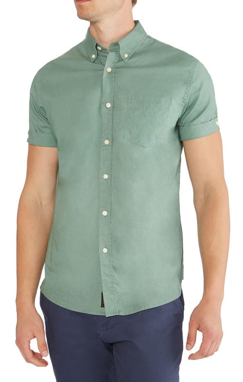 Green Short Sleeve Stretch Cotton Linen Shirt