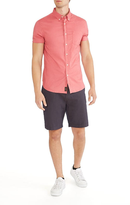 Red Short Sleeve Stretch Cotton Linen Shirt