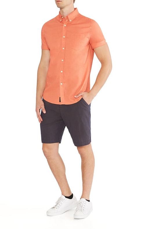 Orange Short Sleeve Stretch Cotton Linen Shirt