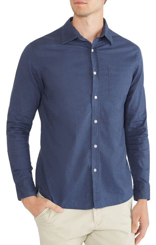 Navy Stretch Cotton Linen Shirt