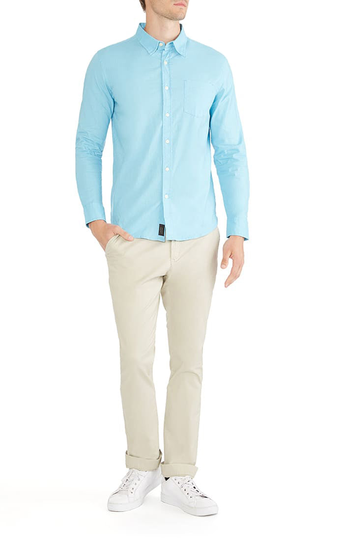 Light Blue Stretch Cotton Linen Shirt - jachs