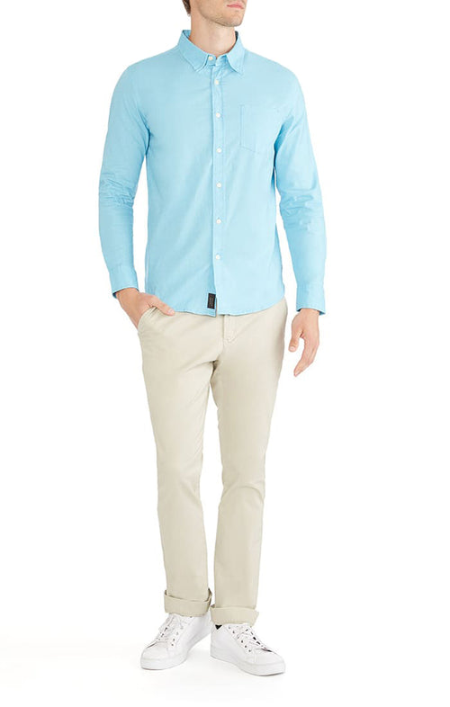 Light Blue Stretch Cotton Linen Shirt