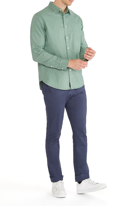 Green Stretch Cotton Linen Shirt