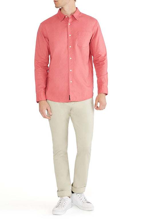 Red Stretch Cotton Linen Shirt