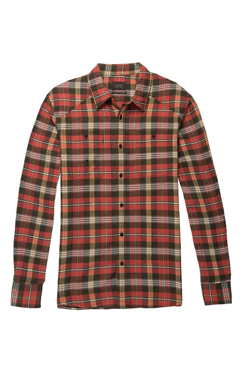 Red and Green Plaid Flannel Shirt - jachs