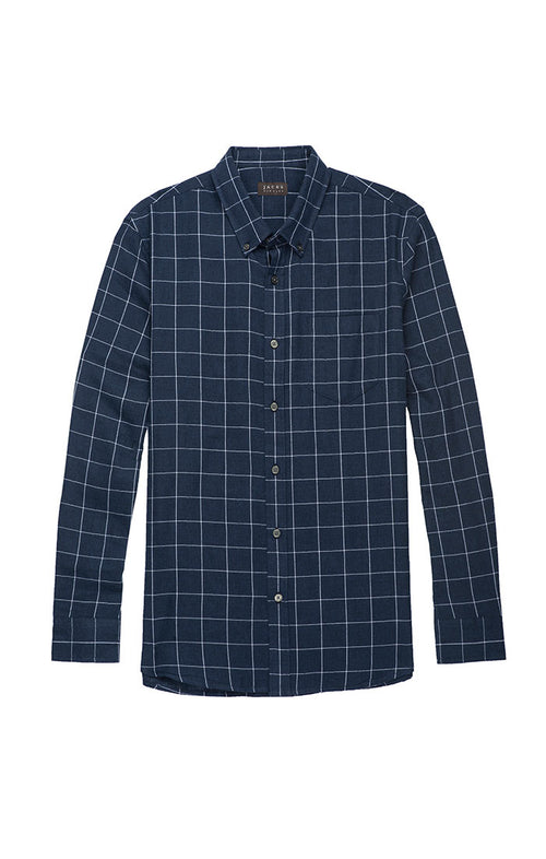 Navy Windowpane Double Face Shirt
