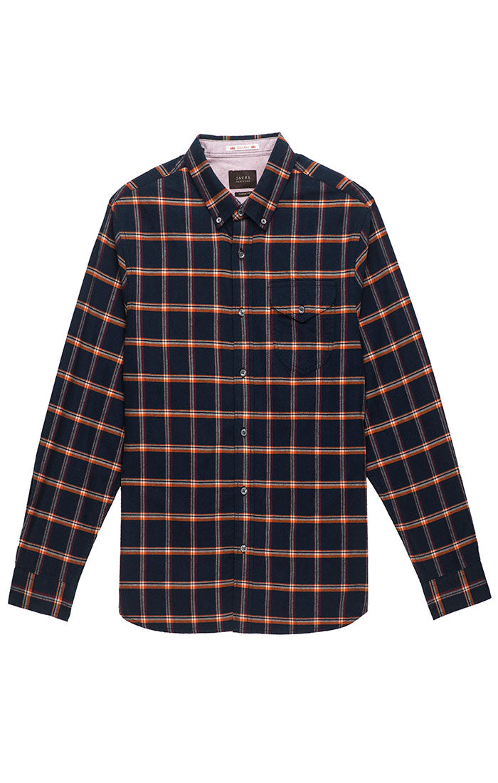 Navy Plaid Flannel Oxford Shirt