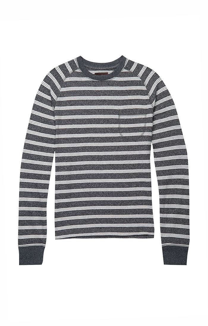 Grey Jaspe Striped Raglan Crewneck