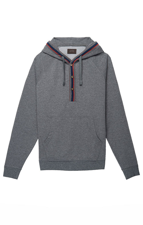 Grey Fleece Stretch Varsity Hooded Henley