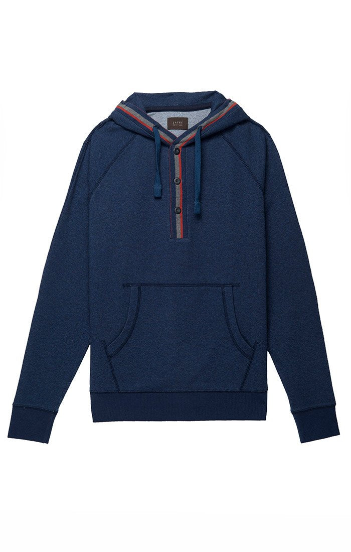 Blue Stretch Terry Varsity Hooded Henley - jachs