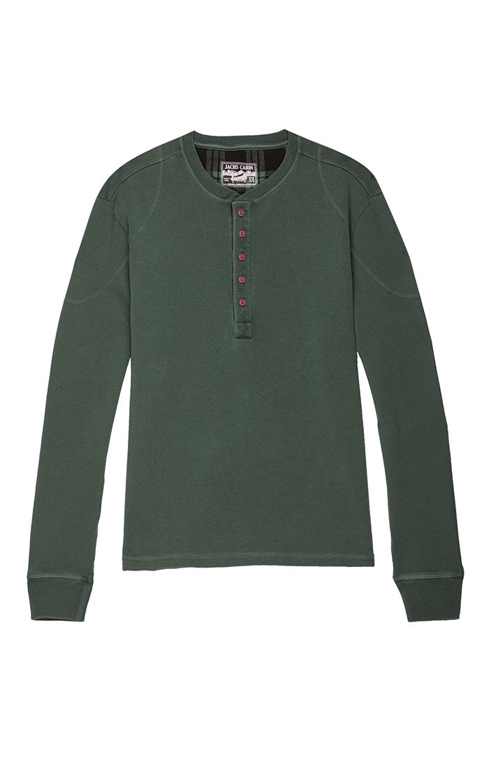 Forest Green Stretch Long Sleeve Henley