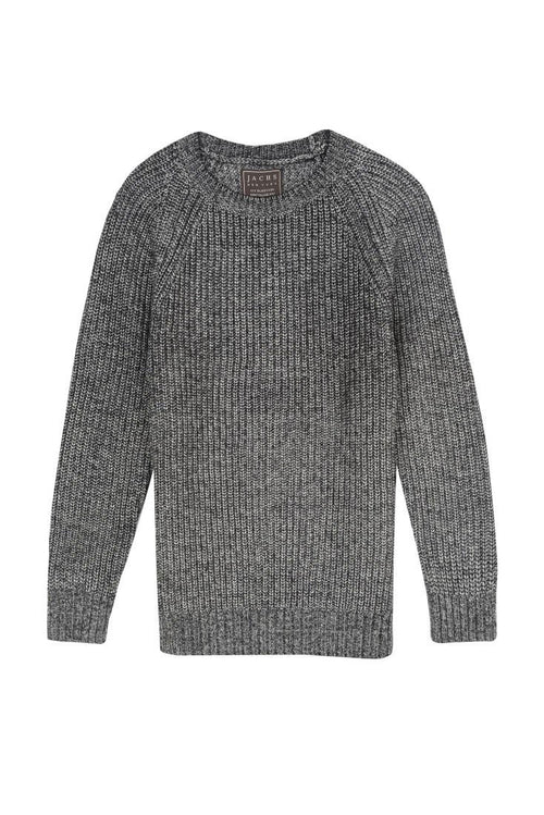 Charcoal Marled Ribbed Crewneck Sweater