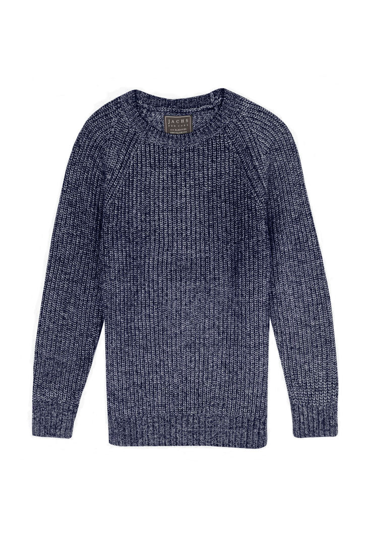 Blue and White Marled Ribbed Crewneck Sweater