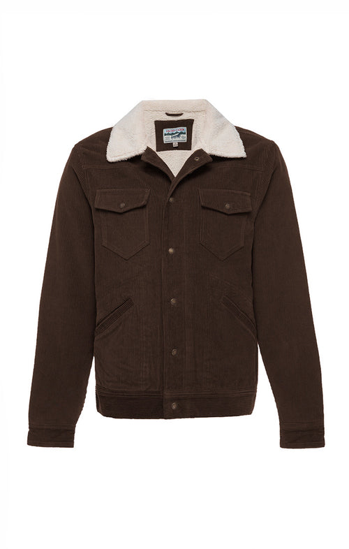 Brown Sherpa Lined Stretch Corduroy Trucker Jacket - jachs
