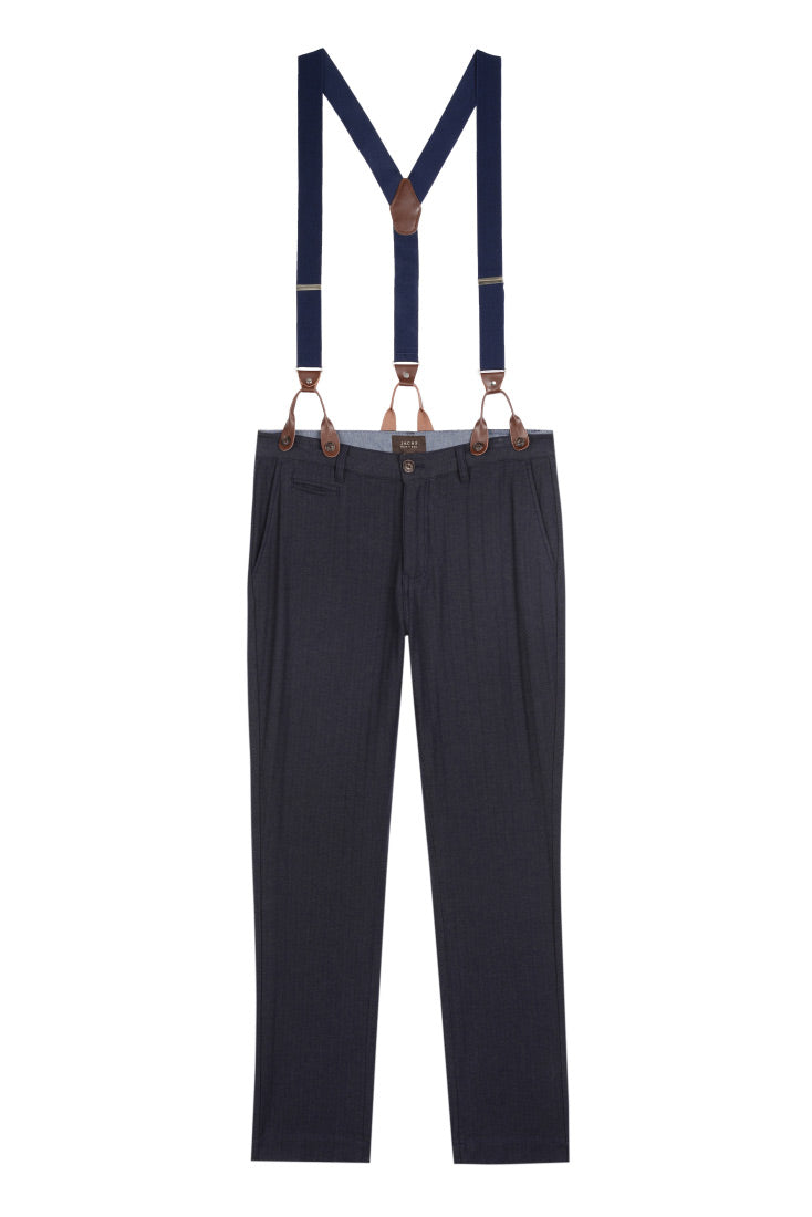 Navy Stretch Herringbone Straight Fit Suspender Pant - jachs