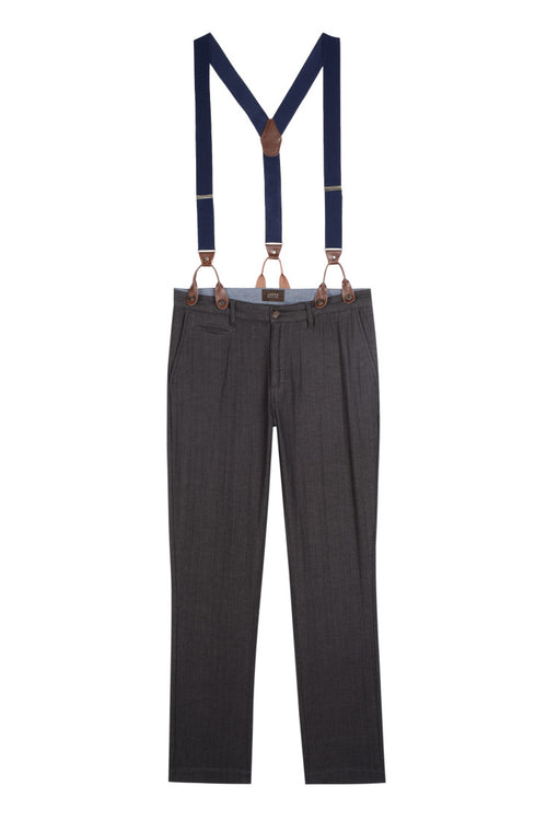 Charcoal Stretch Herringbone Suspender Pant