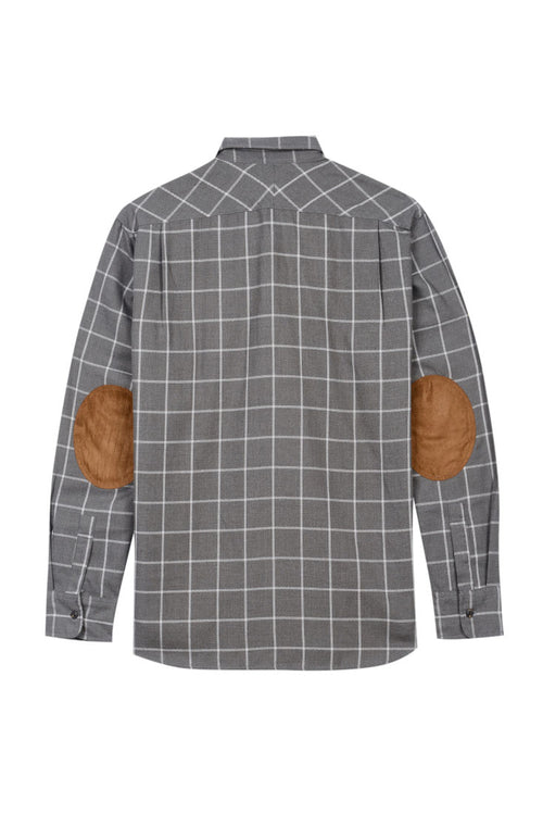 Grey Windowpane Elbow Patch Flannel Shirt