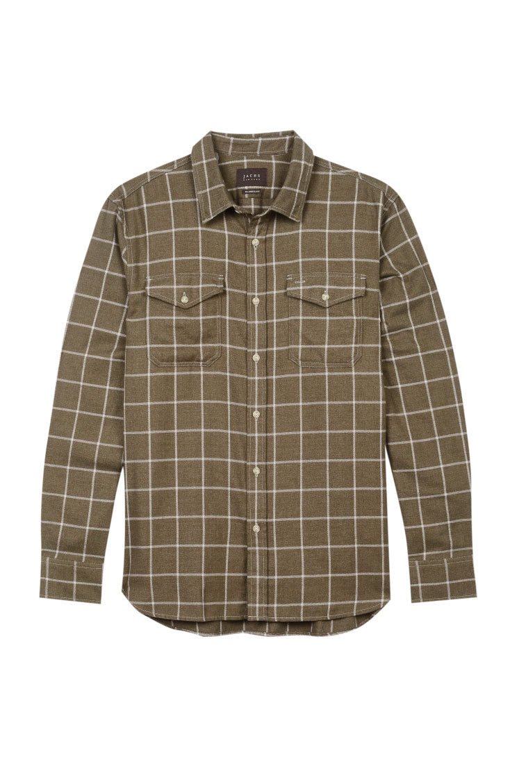 Olive Windowpane Elbow Patch Flannel Shirt