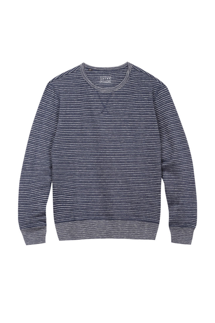 Navy Striped Fleece Crewneck Sweatshirt - jachs