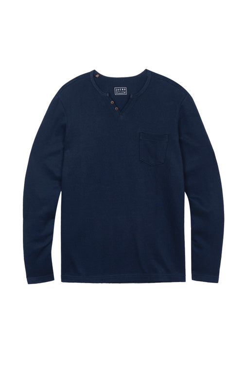 Navy Long Sleeve Split V Shirt