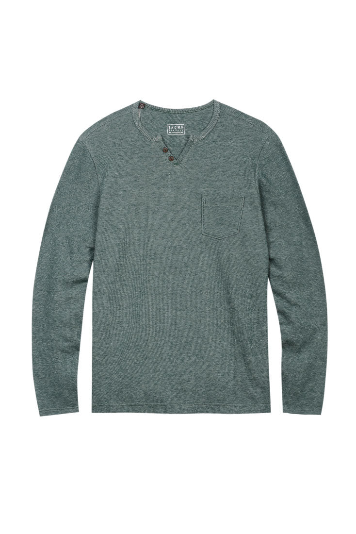 Green Long Sleeve Split V Shirt