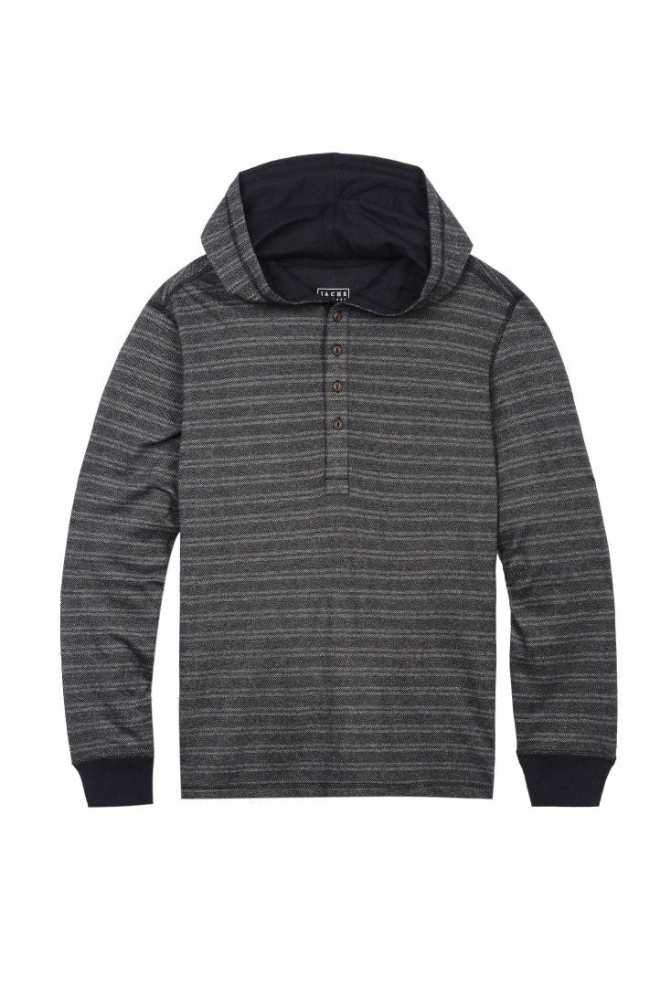 Herringbone Striped Hooded Henley