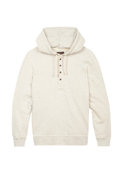 Ivory Striped Fleece Hooded Henley